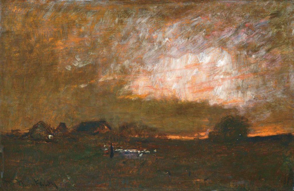 Online aukció: Munkácsy Mihály Naplemente című műve, amelyet végül 90 millió forintért vásároltak meg.