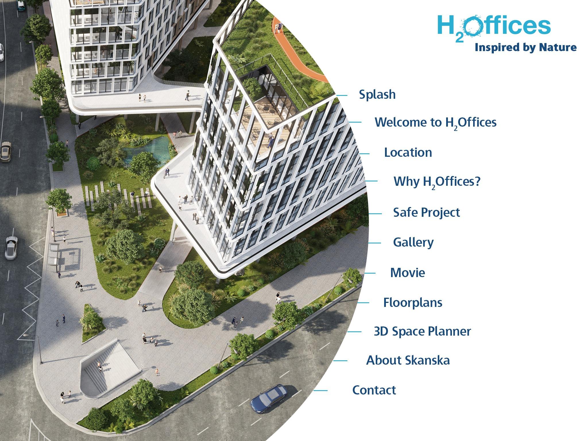 Skanska alkalmazás mutatja be új irodaprojektjét, az H2Offices komplexumot